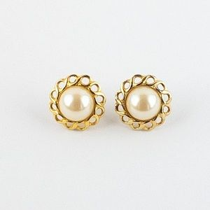 Vintage Faux Mabe Style Pearl Earrings